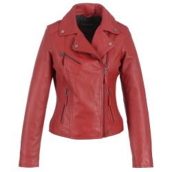 RED ASYMETRIC LEATHER JACKET