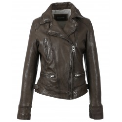 VIDEO (REF. 62065) LIGHT BROWN - WASHED LOOK GENUINE LEATHER JACKET