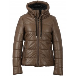 JESSIE (REF. 63862) LIGHT BROWN - SHORT DOWN DOWN JACKET IN GENUINE LEATHER WITH FIXED HOOD