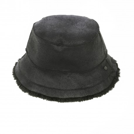 ALTO (REF. 63811) BLACK - REVERSIBLE WOOL AND FAUX FUR BUCKET HAT