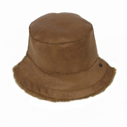 ALTO (REF. 63811) COGNAC - REVERSIBLE WOOL AND FAUX FUR BUCKET HAT