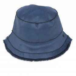 ALTO (REF. 63811) PETROL BLUE - REVERSIBLE WOOL AND FAUX FUR BUCKET HAT