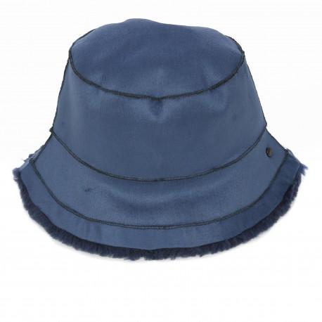 ALTO (REF. 63811) PETROL BLUE - REVERSIBLE WOOL AND FAUX FUR BUCKET HAT