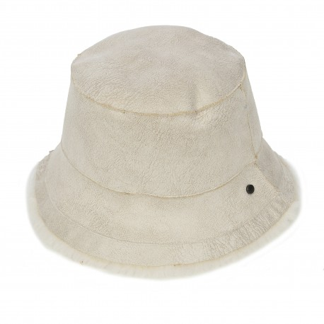 ALTO (REF. 63811) LIGHT BEIGE - REVERSIBLE WOOL AND FAUX FUR BUCKET HAT