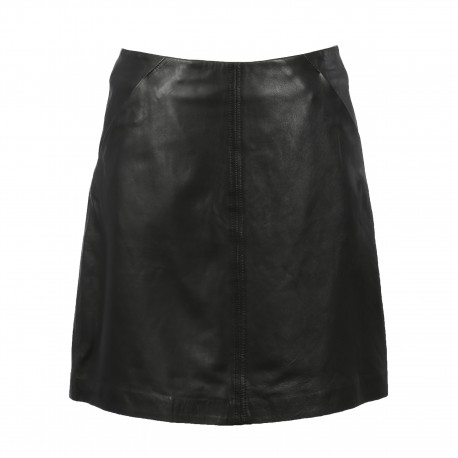 JOHANNA (REF. 63765) BLACK - A-LINE SKIRT IN GENUINE LEATHER
