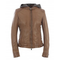 SUNDAY (REF. 63779) COGNAC - BIKER JACKET IN GENUINE LEATHER WITH REMOVABLE FACING