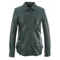 BABYDOLL (REF. 63719) DARK GREEN - GENUINE LEATHER SHIRT