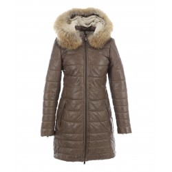 MARY (REF. 63115) LIGHT BROWN – HOODED GENUINE LEATHER DOWN JACKET WITH FUR