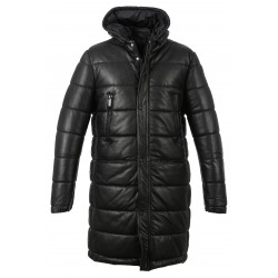 DUSTIN (REF. 63832) BLACK - LONG GENUINE LEATHER DOWN JACKET WITH HOOD