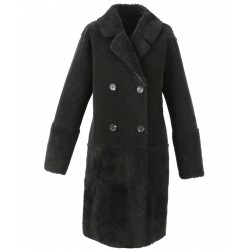 SISSI (REF. 63751) BLACK - FAUX SHEARLING REVERSIBLE COAT (100% WOOL)