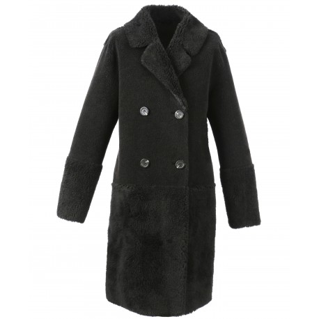 SISSI (REF. 63751) BLACK - BLACK - FAUX SHEARLING REVERSIBLE COAT (100% WOOL)