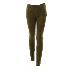 CASSIOPEE (REF. 63745) LIGHT KHAKI - STRETCH REAL SUEDE LEATHER TROUSERS LEGGINGS