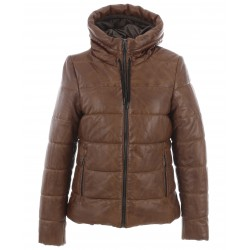 JESSIE (REF. 63862) COGNAC - SHORT DOWN DOWN JACKET IN GENUINE LEATHER WITH FIXED HOOD