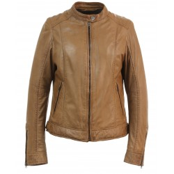 DIANA (REF. 63776) COGNAC - GENUINE LEATHER JACKET WITH MANDARIN COLLAR WITH PRESS BUTTON