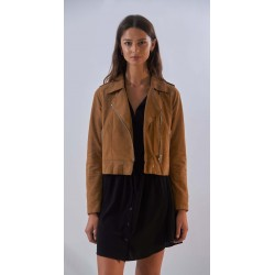 ZULINA (REF. 63637) TAN - GENUINE GOAT SUEDE CROPPED BIKER JACKET