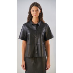 TAYLOR (REF. 63930) BLACK - GENUINE SHEEP LEATHER LOOSE SHIRT WITH SHORT SLEEVES