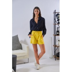PICK (REF. 63926) YELLOW - GENUINE LEATHER SHORTS WITH ELASTIC WAIST