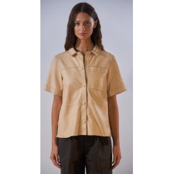 TAYLOR (REF. 63930) LIGHT BEIGE - GENUINE SHEEP LEATHER LOOSE SHIRT WITH SHORT SLEEVES