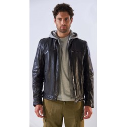 BROTHER (REF. 63949) BLACK - GENUINE LEATHER JACKET WITH WASHED EFFECT AND REMOVABLE HOOD