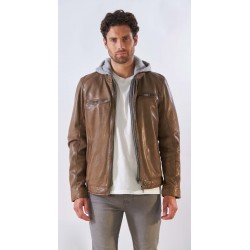 BROTHER (REF. 63949) COGNAC - GENUINE LEATHER JACKET WITH WASHED EFFECT AND REMOVABLE HOOD