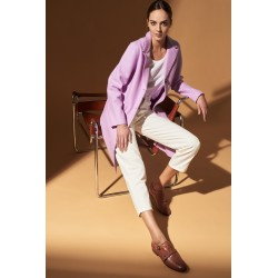 PEONY (REF. 63958) LILAC - STRAIGHT WOOL COAT WITH SUIT FOLD-DOWN COLLAR