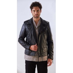 SOLDIER (REF. 63946) BLACK - GENUINE LEATHER BIKER JACKET WITH ASYMMETRICAL CLOSURE AND WASHED EFFECT