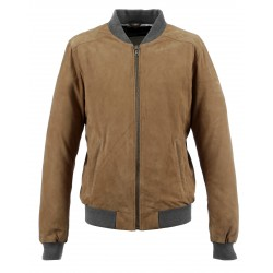 WILLIAM (REF. 63905) TAN - GENUINE BOMBER JACKET WITH CONTRASTED RIBBED HEMS