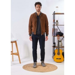 WILLIAM (REF. 63905) COGNAC- GENUINE BOMBER JACKET WITH CONTRASTED RIBBED HEMS