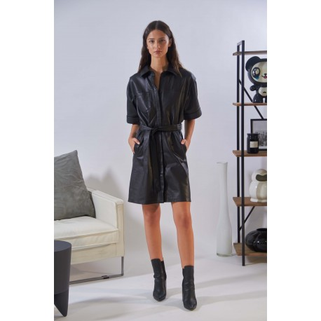 BREAK (REF. 63919) BLACK - GENUINE LEATHER SHIRT DRESS WITH TIE BELT