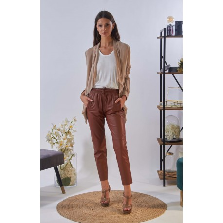 GIFT (REF. 63641) LIGHT BROWN - GENUINE LEATHER JOGPANTS