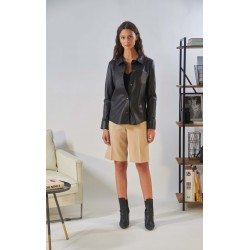 ANAE (REF. 63917) BLACK - GENUINE LEATHER SHIRT WITH PATCH BREAST POCKET