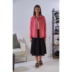 ANAE (REF. 63917) PINK - GENUINE LEATHER SHIRT WITH PATCH BREAST POCKET