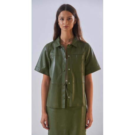 TAYLOR (REF. 63930) BRONZE - GENUINE SHEEP LEATHER LOOSE SHIRT WITH SHORT SLEEVES