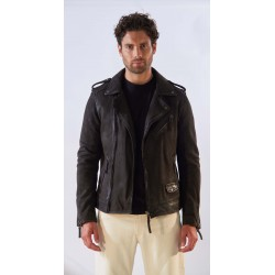 SOLDIER (REF. 63910) ANTIC BROWN - GENUINE LEATHER BIKER JACKET WITH ASYMMETRICAL CLOSURE AND PATINA EFFECT