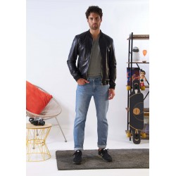 BORN (REF. 63936) BLACK - SMOOTH GENUINE LEATHER BOMBER