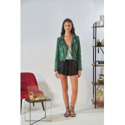 KYOTO (REF. 62966) GREEN - WASHED LOOK GENUINE LEATHER JACKET