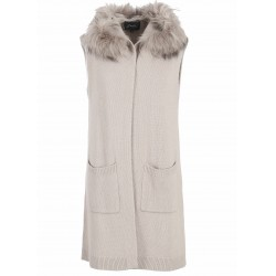 SEPTEMBER (REF. 62146) BEIGE - WOOL AND CASHMERE HOODED CARDIGAN