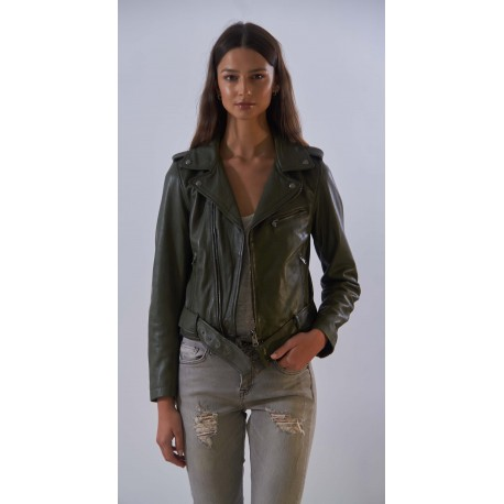 RADIO (REF. 63667) KHAKI - ASYMMETRICAL GENUINE LEATHER JACKET WITH BELT