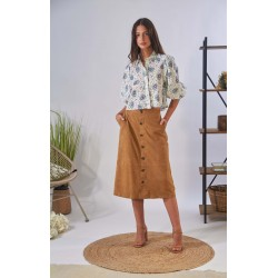 ALIANA (REF. 63891) TAN - MIDI SKIRT WITH BUTTONS IN GENUINE GOAT SUEDE LEATHER