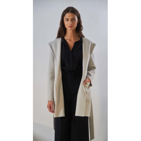 ROMA (REF. 63957) CONCRETE - HOODED SHORT COAT IN MIX WOOL
