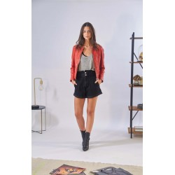 PENNY (REF. 63938) RED - ROUND COLLAR JACKET IN SHINNY GENUINE LEATHER