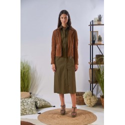CHOREGRAPHY (REF. 63889) TOBACCO - GENUINE LEATHER REFINED ASYMMETRICAL JACKET
