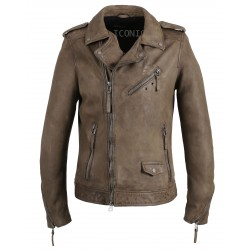 SOLDIER (REF. 63910) YEMEN - GENUINE LEATHER BIKER JACKET WITH ASYMMETRICAL CLOSURE AND PATINA EFFECT