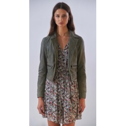 TRISH (REF. 63911) KHAKI - VINTAGE LOOK GENUINE LEATHER SPENCER JACKET