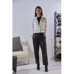 PALAMITA (REF. 63925) BLACK - SLOUCHY TROUSERS IN GENUINE LEATHER