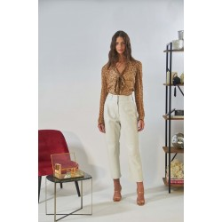 PALAMITA (REF. 63925) WHITE - SLOUCHY TROUSERS IN GENUINE LEATHER