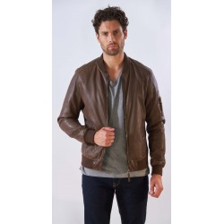 UNITED (REF. 63947) TOBACCO - GENUINE LEATHER BOMBER JACKET WITH DETAIL ON LEFT SLEEVE