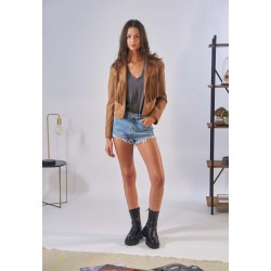 JANIS (REF. 63897) TAN - GENUINE LEATHER JACKET WITH FRINGES