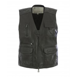 REPORTER (REF.63927) KHAKI - GENUINE LEATHER SLEVELESS JACKET