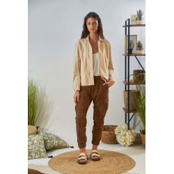 CARGO (REF. 63893) COGNAC - CARGO PANTS IN GENUINE GOAT SUEDE LEATHER
